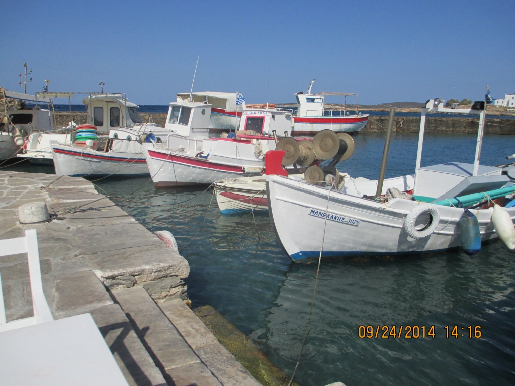 Boats at the harbor in Naoussa, Paros Island.