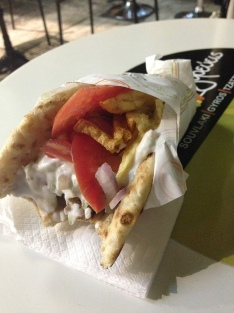 Chicken souvlaki with tzatziki and