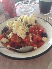 Salad with tomato, barley rusk and local cheese