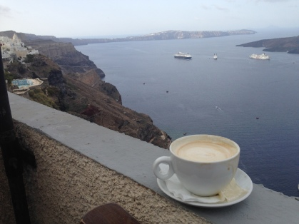 Please a little cappuccino in the Santorini volcano please?
